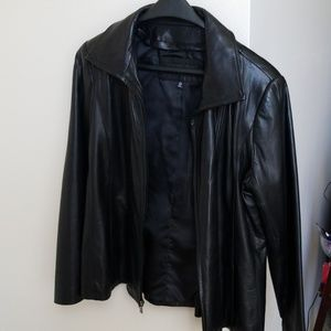 Jones New York black leather Jacket sz XL